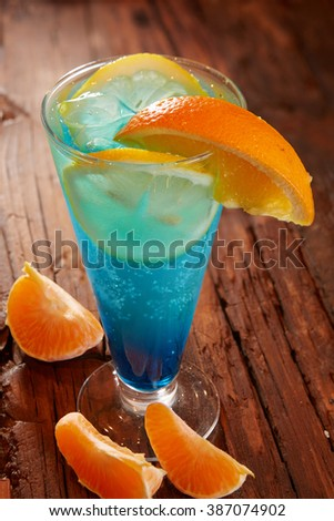 Fresh cocktail with blue curacao - stock photo