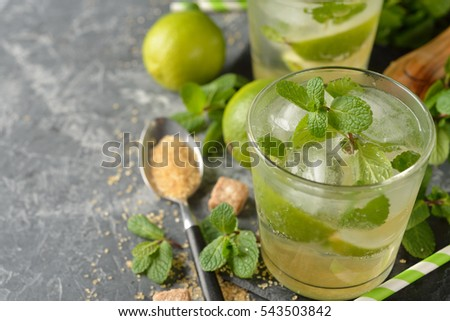 Fresh cocktail with mint and lime on a gray background