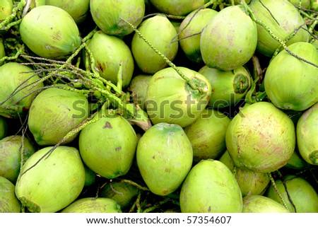 Fresh coconut background - stock photo
