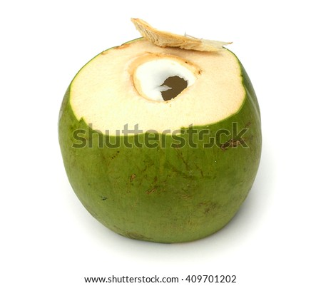 fresh coconut cluster isolated on white background