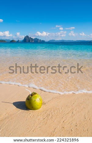 Fresh coconut drink on tropical white sand beach - stock photo