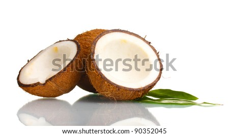 Fresh coconut isolated on white - stock photo