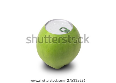 Fresh coconut isolated with can open tool on top - stock photo