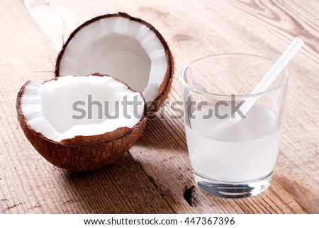 fresh coconut milk in a glass on the table