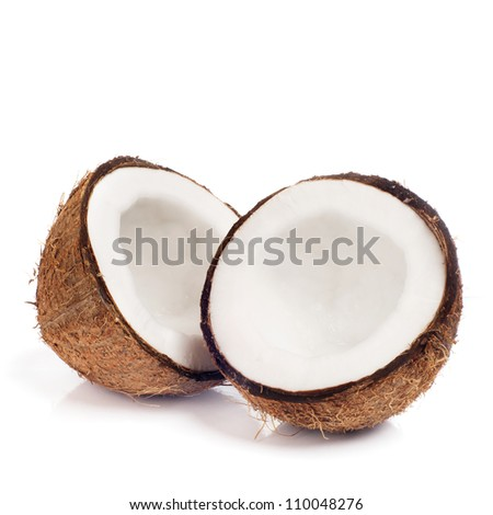 Fresh coconut on white isolated background - stock photo