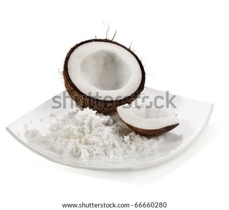 Fresh coconut on white isolated background - stock photo