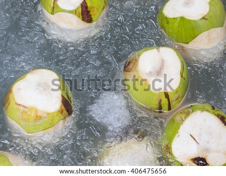 Fresh coconuts soak in ice water - stock photo