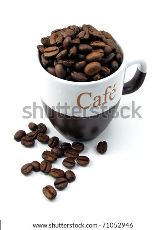Fresh coffee beans in a cup on white background