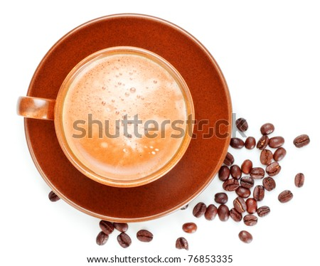 fresh coffee cup isolated on white background - stock photo