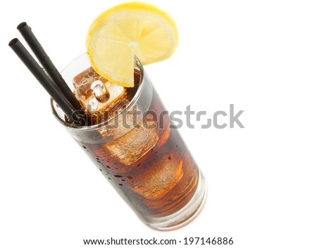 fresh coke with straw with lemon slice on top and white background with space for text, summer time - stock photo