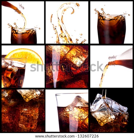 Fresh cola background with splash and ice - stock photo
