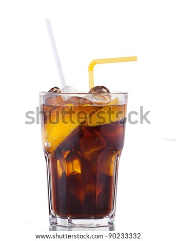 Fresh cola drink with ice and yellow lemon on white background