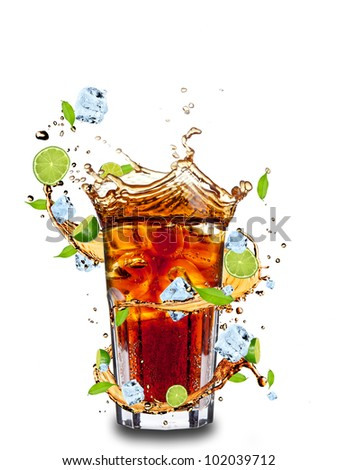 Fresh cola drink with limes. Isolated on white background - stock photo