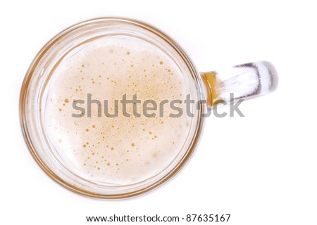 fresh cold beer is in large glass - stock photo