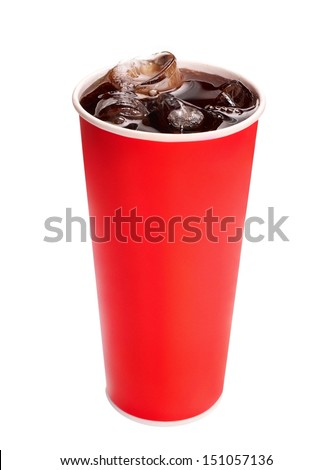 Fresh Cold Cola with ice - stock photo