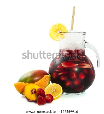 Fresh cold sangria isolated on a white background - stock photo