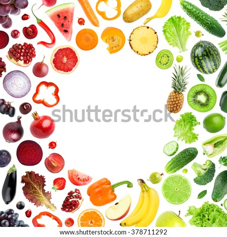Fresh color fruits and vegetables concept