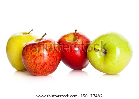 fresh colorful apples isolated on white background - stock photo