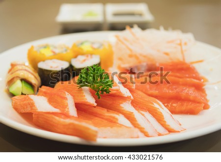 Fresh colorful Japanese food on the white plate, selective focused