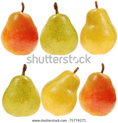 fresh colorful pears, isolated on white - stock photo