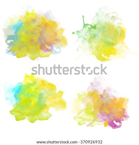 Fresh Colorful Watercolor Blobs. Set of Watercolor Splashes for design. Beautiful Paper Watercolor Backdrops with colorful blobs and place for text. Original design for posters and banners. - stock photo