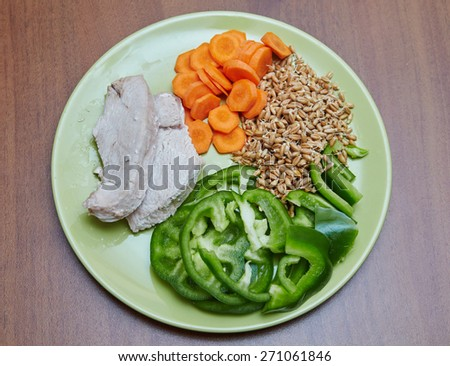Fresh cooked chicken or turkey, two slices lying on a green plate, next is chopped green bell pepper, sliced carrot and the prophets young wheat, lunch, dinner, healthy food without fat, diet, tasty - stock photo