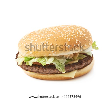 Fresh cooked hamburger isolated over the white background