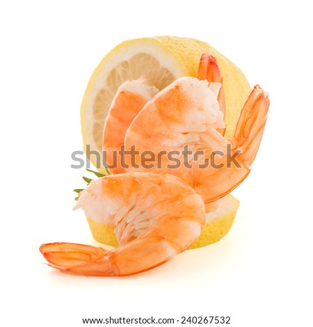 Fresh cooked shrimp with lime prepared to eat. - stock photo