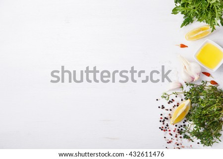 Fresh cooking ingredients and spice,on a white background. Vegetarian or diet,and healthily cooking concept.Copy space.selective focus. - stock photo