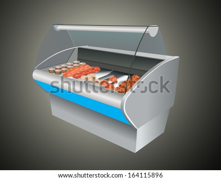 Fresh cool fish shrimp and caviar in refrigerator in a shop - stock photo