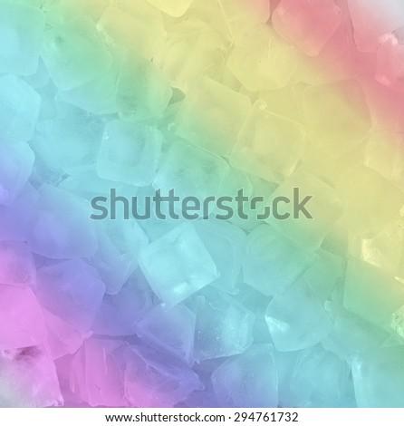 fresh cool rainbow ice cube background - stock photo