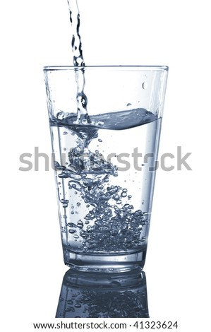 fresh cool water splashing in a glass