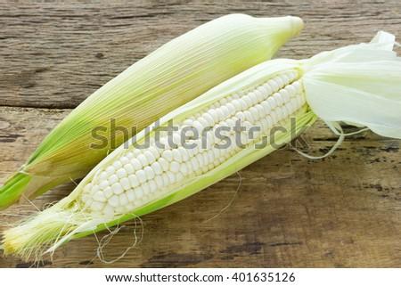 Fresh corn on wooden - stock photo