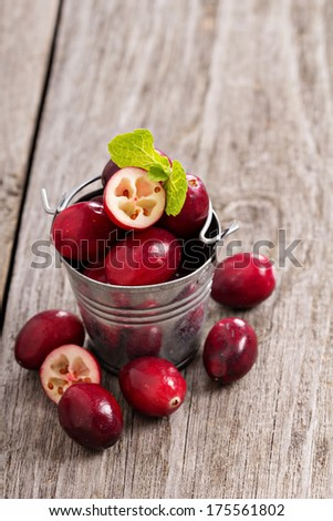 Fresh cranberries in a small decorative bucket