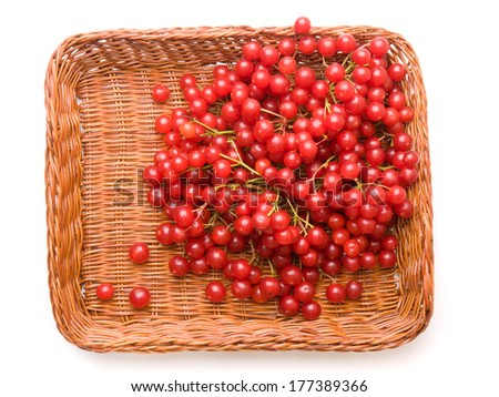 Fresh cranberries in basket isolated on white background - stock photo