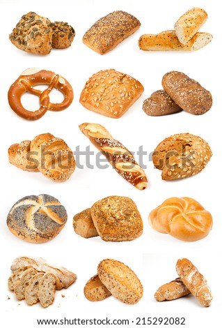Fresh, Crispy Bio Roll Bread and Breads XXL Poster - stock photo