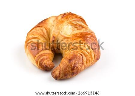 Fresh croissant isolated on the white background - stock photo