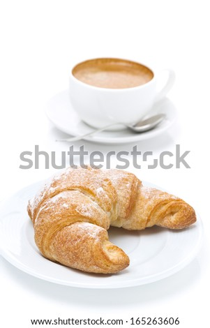 fresh croissants and cup of espresso on white