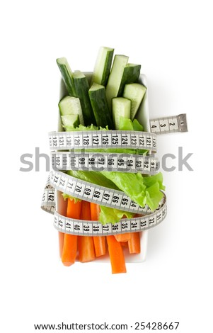 fresh cucumber and carrot. isolated on white - stock photo