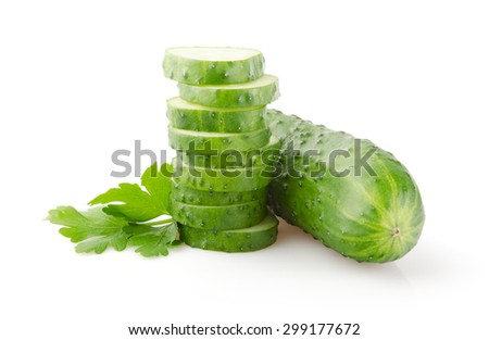 Fresh Cucumber and Slices isolated on white background