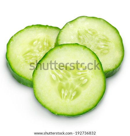 Fresh cucumber slice isolated. Clipping Path  - stock photo