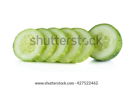 Fresh cucumber slice isolated on white background. - stock photo