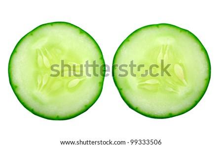 Fresh cucumber slice isolated on white background - stock photo