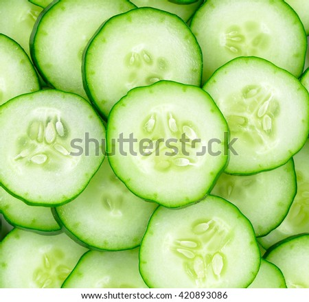 Fresh cucumber slices background. - stock photo