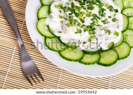Fresh cucumber slices with sour cream and green onion on a plate - stock photo