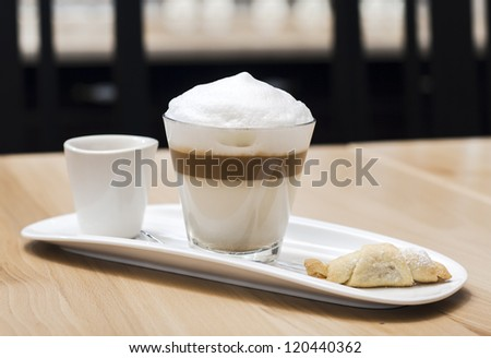 fresh cup of coffee - stock photo