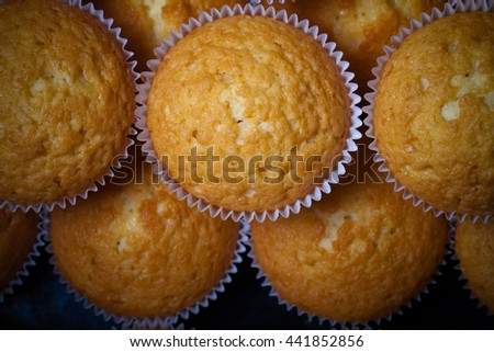 Fresh cupcake desert before decoration. Selective focus. Shallow depth of field. Toned. - stock photo