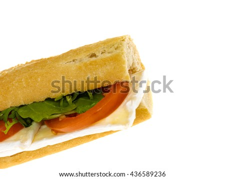 Fresh Cut Healthy Eating Brie Cheese and Tomato Baguette Bread Roll Isolated Against A White Background With Copy Space - stock photo