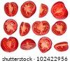 Fresh cut  tomatoes isolated on white background - stock photo