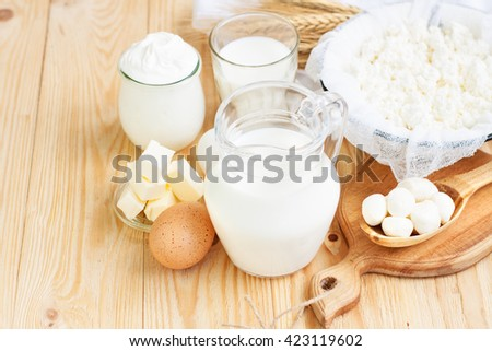 Fresh dairy products (milk, cottage cheese, sour cream, mozzarella, butter), wheat on light wooden background, with copy space - stock photo